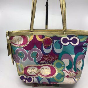 COACH Large Multicolor Fabric Shoppers Tote